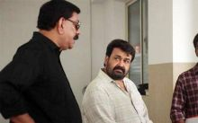 Priydarshan and Mohanlal on the sets of Oppam