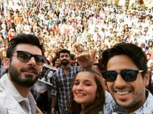 Fawad Khan, Alia Bhatt and Sidharth Malhotra during the promotion of Kapoor and Sons