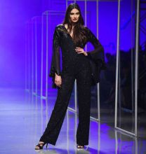 Athiya Shetty walked for designer Namrata Joshipura on the fourth day of Amazon India Fashion Week Autumn/Winter 2016. The lady dazzled in a black bodysuit embellished with appliques. The flared sleeves of the outfit gave it an edge.