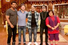 Popular rock band Bombay Rockers will also grace Comedy Nights Live this weekend. Here these pose with John Abraham, Bharti Singh and Mika Singh.