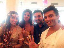 (L-R) Bipasha Basu, Shilpa Shetty Kundra, Raj Kundra and Karan Singh Grover