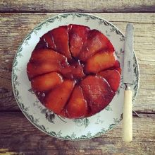 This upside down pear cake is another pear-based gourmet dessert option, apart from poached pears.