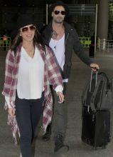 Sunny Leone and Daniel Webber at Mumbai Airport