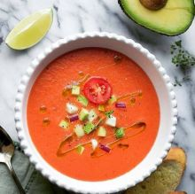 The red or orange gazpacho is made with red bell peppers and tomatoes.