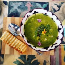 The easiest way to make a green gazpacho is to use green capsicum, baby spinach and/or cucumbers.