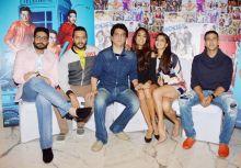 (L-R) Abhishek Bachchan, Riteish Deshmukh, Sajid Nadidwala, Lisa Haydon, Jacqueline Fernandez and Akshay Kumar