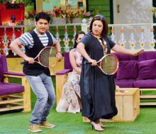 Now both Kapil and Farah taking tennis lessons from Sania Mirza.