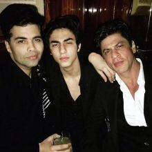 Shah Rukh Khan and Aryan Khan at Karan Johar's birthday bash