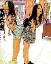Girl bonding: Kishwer and Vrushika have fun.