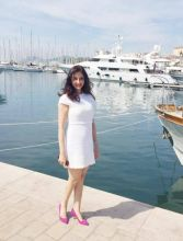 Saumya looks graceful in white as she lands in Cannes.