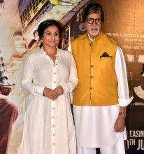 Vidya Balan and Amitabh Bachchan at the trailer launch of TE3N