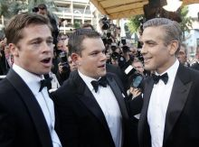 Brad Pitt (L-R), Matt Damon and George Clooney