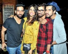 Kishwer Merchant, Vishal Singh and Suyyash Rai pose for the cameras.