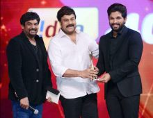 Chiranjeevi, Puri Jagannadh and Allu Arjun at CineMAA Awards 2016.
