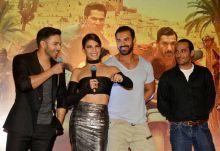 (L-R) Varun Dhawan, Jacqueline Fernandez and Varun Dhawan at the trailer launch of Dishoom