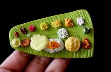 "Ilai sapadu is a South Indian meal served on a banana leaf. Mitha has captured the essence of this traditional meal in her miniature. What attracts her to food are the colours and textures: ""It's interesting to look at and when you miniaturise somethin"