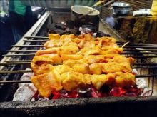 Restaurant name: Aslam Chicken Dish: Fish Tikka Description: Once the fish morsels have been grilled to perfection, you should eat them there and then with a sprinkle of masala or alternatively opt for the butter version. I can feel your mo