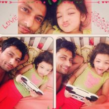 Indraneil Sengupta and Barkha Bisht's daughter Meera loves the company of her father. Catch her different moods in this pic.