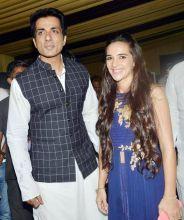 Sonu Sood and Tara Sharma at Baba Siddique's Iftaar party