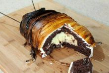 Dey's Madagascar Hissing Cockroach cake is made of chocolate and a Belgian creme filling.