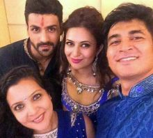 Divek with wedding guests.