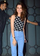 Parineeti Chopra posed for the flashbulbs at the party.