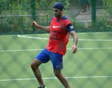 Ranbir Kapoor indulged in a game of football on Sunday.