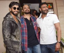 (L-R)Ranveer Singh, Rohit Shetty, Ajay Devgn
