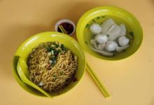 A $2.20 bowl of fishball noodles is seen at Thye Hong Handmade Fishball Noodle stall at Ghim Moh food center.
