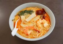 A bowl of $3.40 laksa is seen at Roxy Laksa stall at East Coast Lagoon Food Village in Singapore.