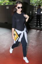 Amy Jackson at the Mumbai international airport.
