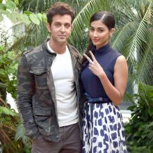 Hrithik Roshan and Pooja Hegde were clicked promoting their upcoming film Mohenjo Daro