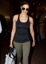 Deepika Padukone was seen at the Mumbai international airport.