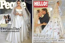 Brad Pitt and Angelina Jolie, married, on the covers of People and Hello! magazines.