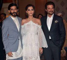Hardhvardhan Kapoor with Anil Kapoor and Sonam Kapoor at Mirzya music launch