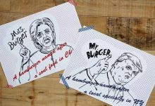 The cafe in Tokyo also features these campaign posters illustrating Trump and Clinton. It seems like the race for the best burger is as serious as the Presidential elections themselves.