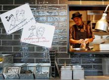 The chef at J.S. Burgers Cafe, Yasuhito Fukui, prepares Mr. and Mrs. Burgers. The Mr. Burger is inspired by the New York Reuben sandwich from Trump's hometown. It has pastrami beef, beef patties, coleslaw, and Russian dressing, in a black bun that shows o