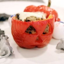 Instead of a pumpkin, carve out some red bell peppers and stuff them with minced meat. Bake the whole thing, and you have horror on your plate.