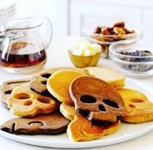Skull pancakes make for a spooky beginning to a day and night of spirits and ghosts.