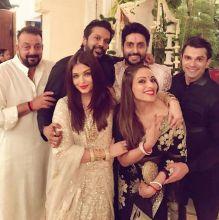 Sanjay Dutt, Bipasha Basu and Karan Singh Grover at Bachchan Diwali Bash