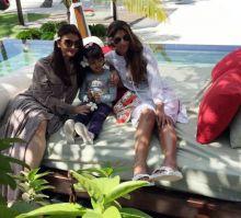 Aishwarya Rai Bachchan and Shweta Nanda with Aaradhya Bachchan
