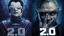Rajinikanth (L) and Akshay Kumar in the posters of 2.0