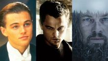 (L to R) Leonardo DiCaprio in Titanic, The Departed and The Revenant