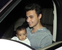 Baby Ahil and Aayush Sharma at Salim Khan's birthday bash