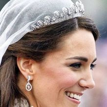 On her wedding day, the Duchess chose the Cartier Diadem tiara, made in 1936, known in the royal circles as the 'halo'. Once a symbol of aristocracy, the tiara has now transformed into a symbol of love