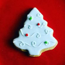 A merry and white Christmas tree cookie. Forget the lights and the carols--this cookie is all you need.