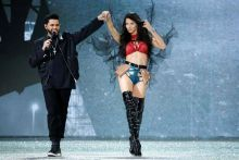 Abel Makkonen Tesfaye a.k.a The Weeknd performs with model Adriana Lima.