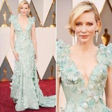 Cate Blanchett This alluring and irresistible pastel Armani Privé dress was a total winner. It was encrusted with Swarovski crystals and white feathers all over and looked unreal for a moment. Her stylist revealed that she had the same dress in black