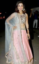 Dr Madhumati On Duty actress Debina Bonnerjee looked in this light pink and blue lehenga choli.