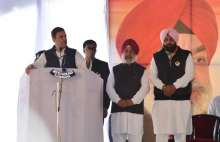 """Rahul said Punjab will not be run by """"remote control"""" as it does not need one, taking a veiled dig at AAP's Arvind Kejriwal."""